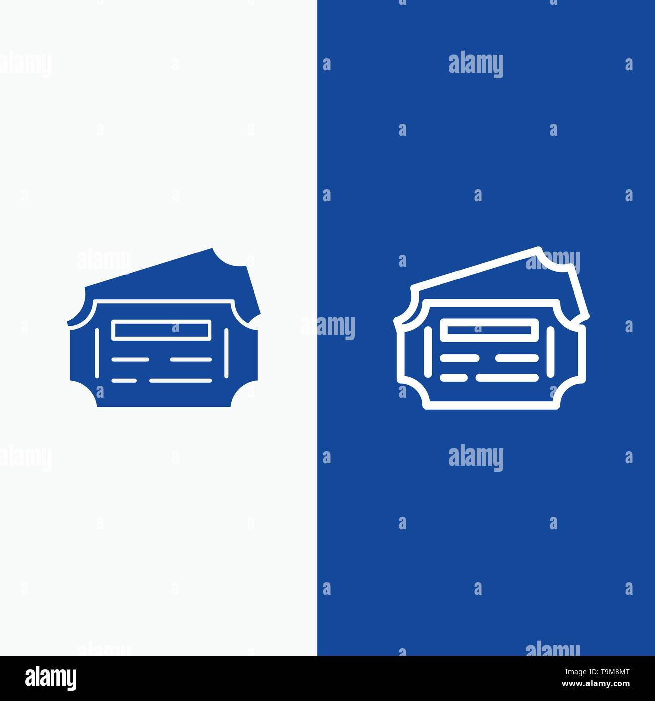 Train, Ticket, Station Line and Glyph Solid icon Blue banner Line and Glyph Solid icon Blue banner - Stock Image