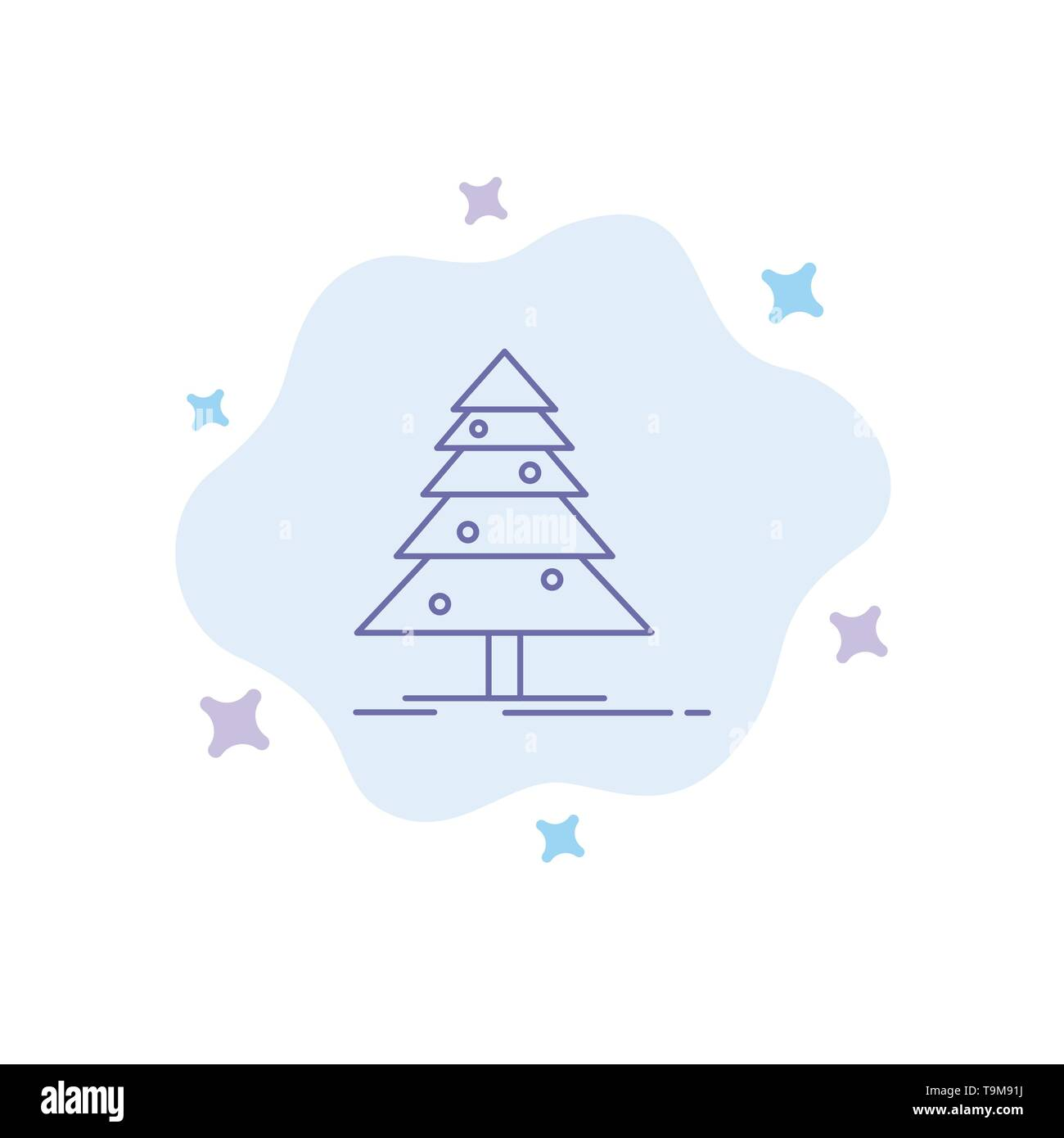 Tree, Forest, Christmas, XMas Blue Icon on Abstract Cloud Background - Stock Image