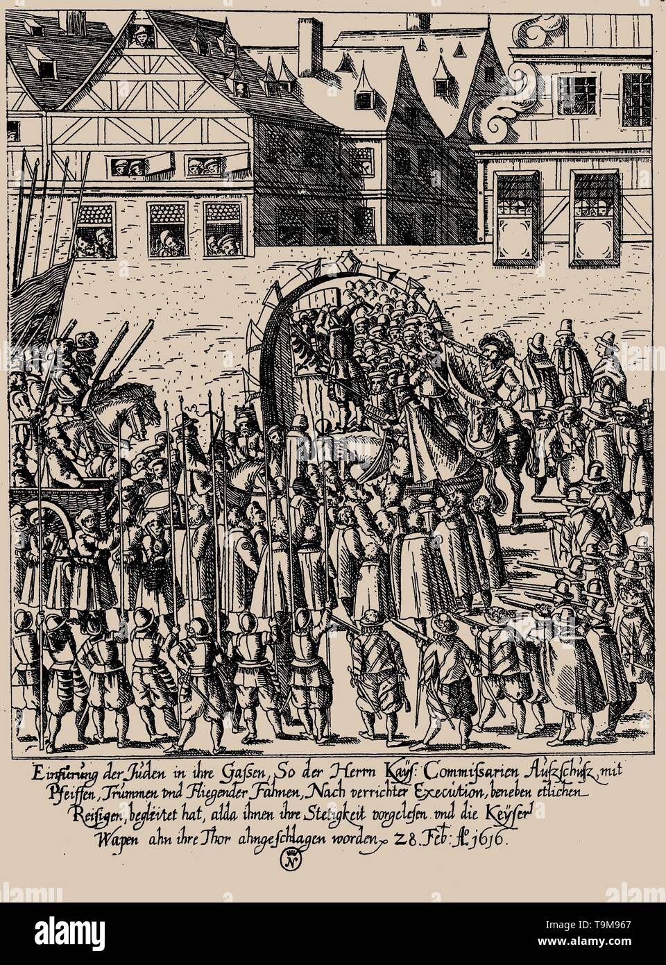 The Fettmilch Rising. Reintroduction of the Jews in Frankfurt on February 28, 1616 according to imperial proclamation. Museum: PRIVATE COLLECTION. Author: GEORG KELLER. - Stock Image