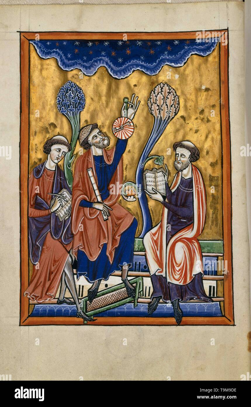 Translation of an astronomy book in the presence of Abraham Ibn Ezra. From the Psalter of Blanche of Castile. Museum: BIBLIOTHEQUE DE L'ARSENAL. Author: ANONYMOUS. - Stock Image