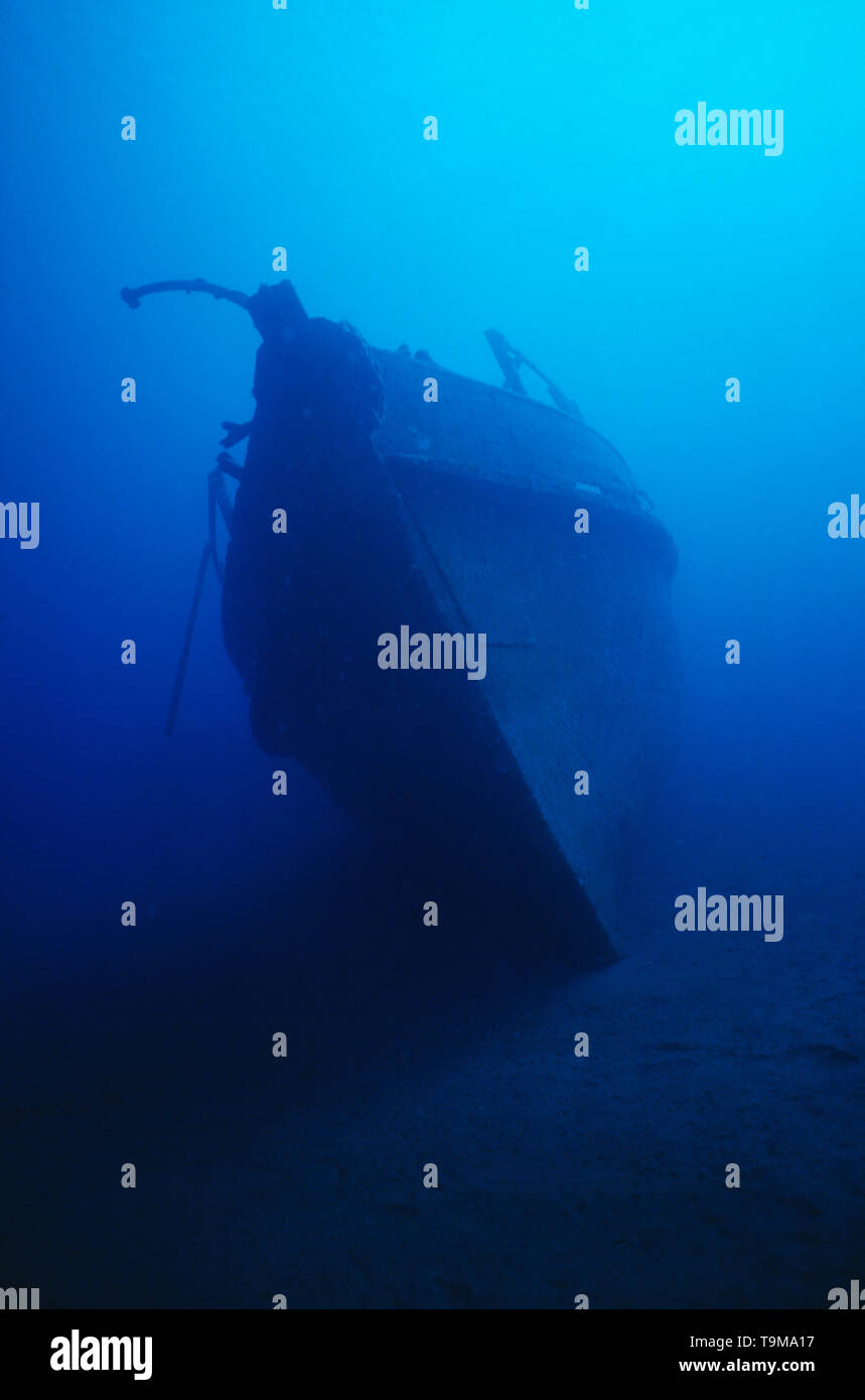 Papua New Guinea. Underwater view  of WW2 ship wreck . - Stock Image
