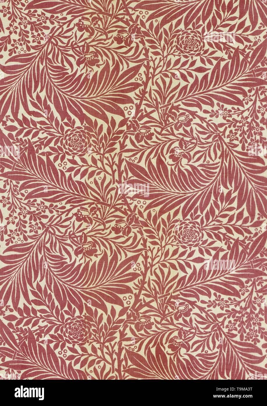 Decorative fabric. Museum: The William Morris Society. Author: Morris, William, Morris Tapestry Works. Stock Photo