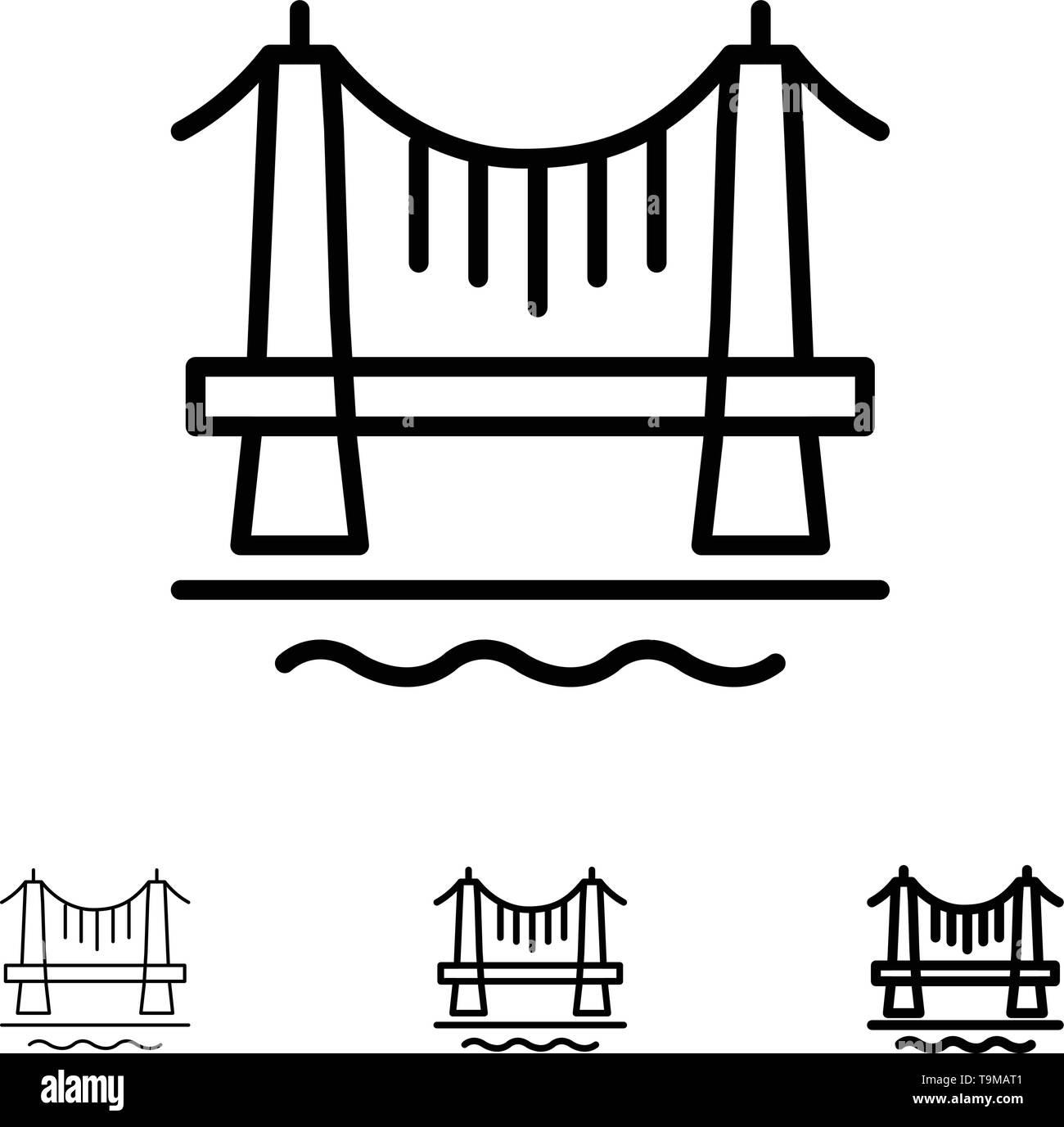 Bridge, Building, City, Cityscape Bold and thin black line icon set - Stock Image