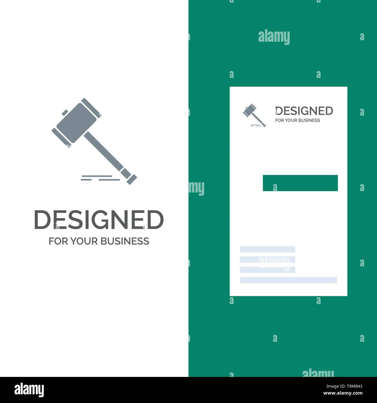 Action, Auction, Court, Gavel, Hammer, Law, Legal Grey Logo Design and Business Card Template - Stock Image