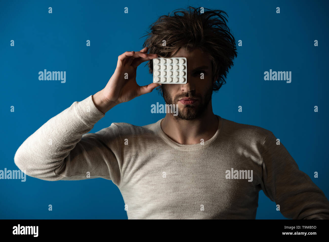 Cold, flu and headache treatment, hypnotic tablet. - Stock Image