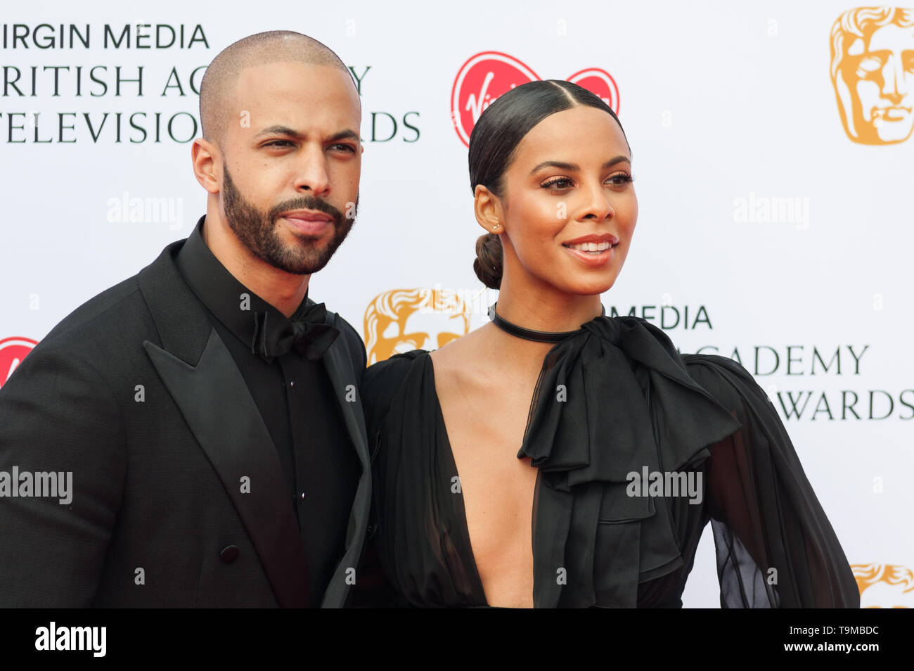 London, UK. 12th May 2019. Marvin Humes and Rochelle Humes attend the Virgin Media British Academy Television Awards ceremony at the Royal Festival Hall. Credit: Wiktor Szymanowicz/Alamy Live News - Stock Image
