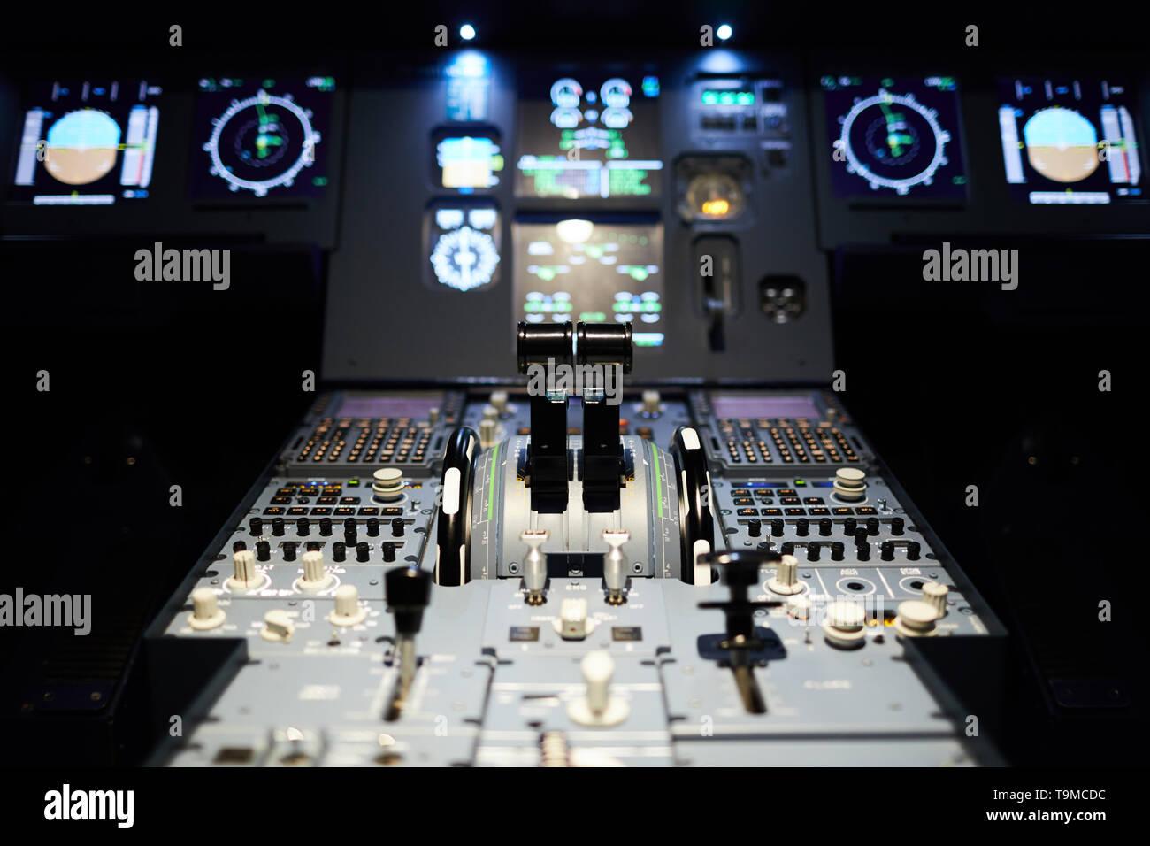 Airplane cockpit with illumination - Stock Image