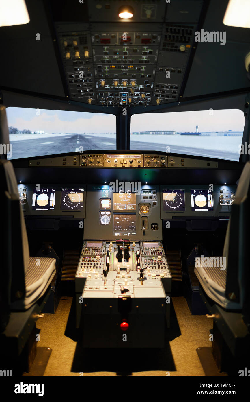Nobody in aircraft pilots area - Stock Image