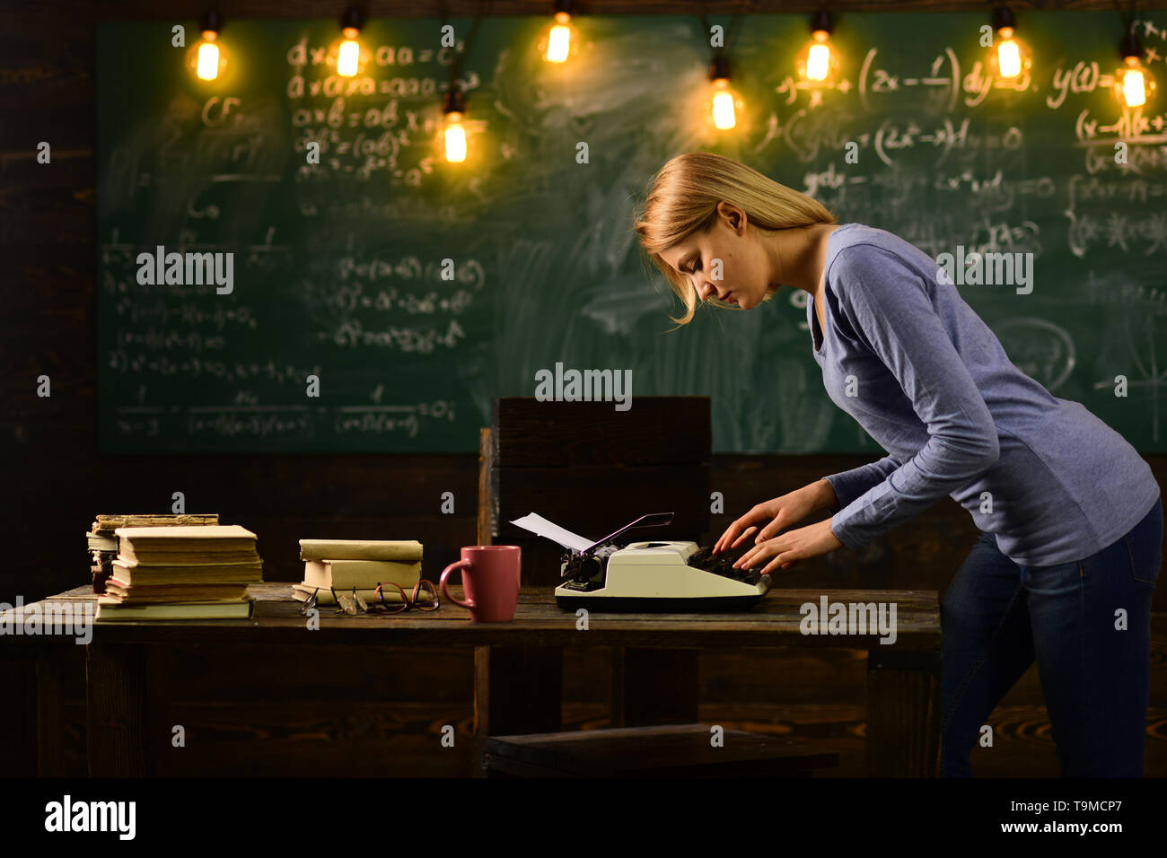 Private detective research. Information. Back to school and home schooling. Journalism. Literature and grammar education. Woman write love story novel - Stock Image
