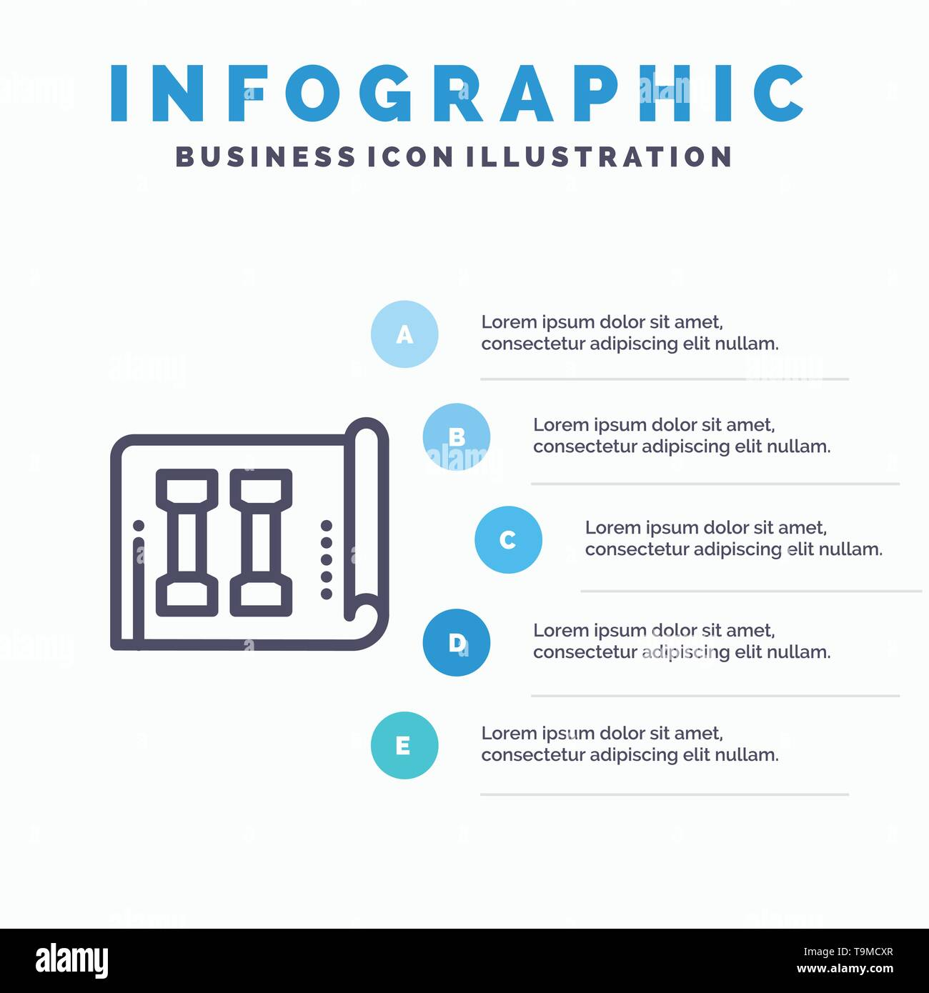Equipment, Fitness, Inventory, Sports Line icon with 5 steps presentation infographics Background - Stock Image