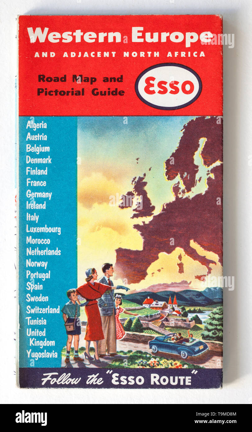 Old Vintage Road Map Stock Photo: 246926532 - Alamy