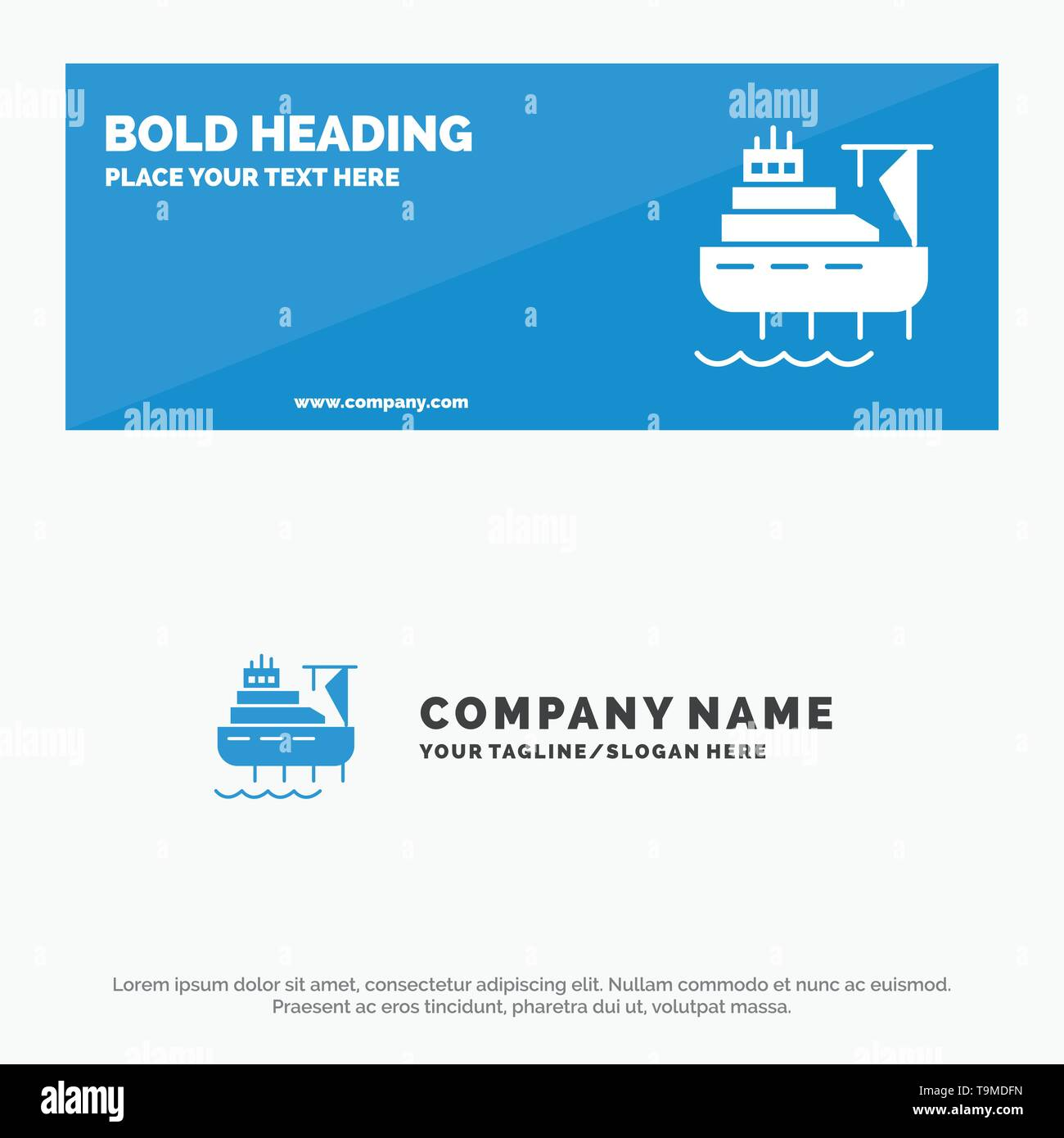 Ship, Boat, Cargo, Construction SOlid Icon Website Banner and Business Logo Template - Stock Image