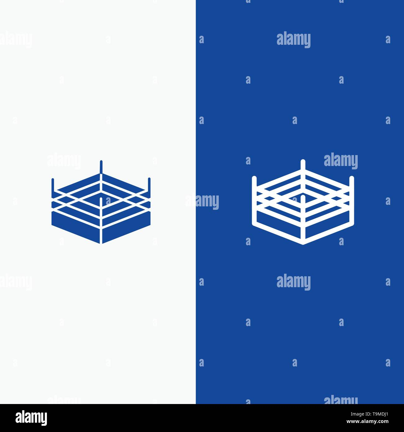 Boxing, Ring, Wrestling Line and Glyph Solid icon Blue banner Line and Glyph Solid icon Blue banner - Stock Image