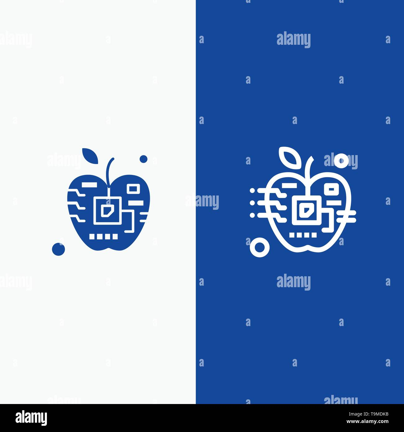 Apple, Artificial, Biology, Digital, Electronic Line and Glyph Solid icon Blue banner Line and Glyph Solid icon Blue banner - Stock Image