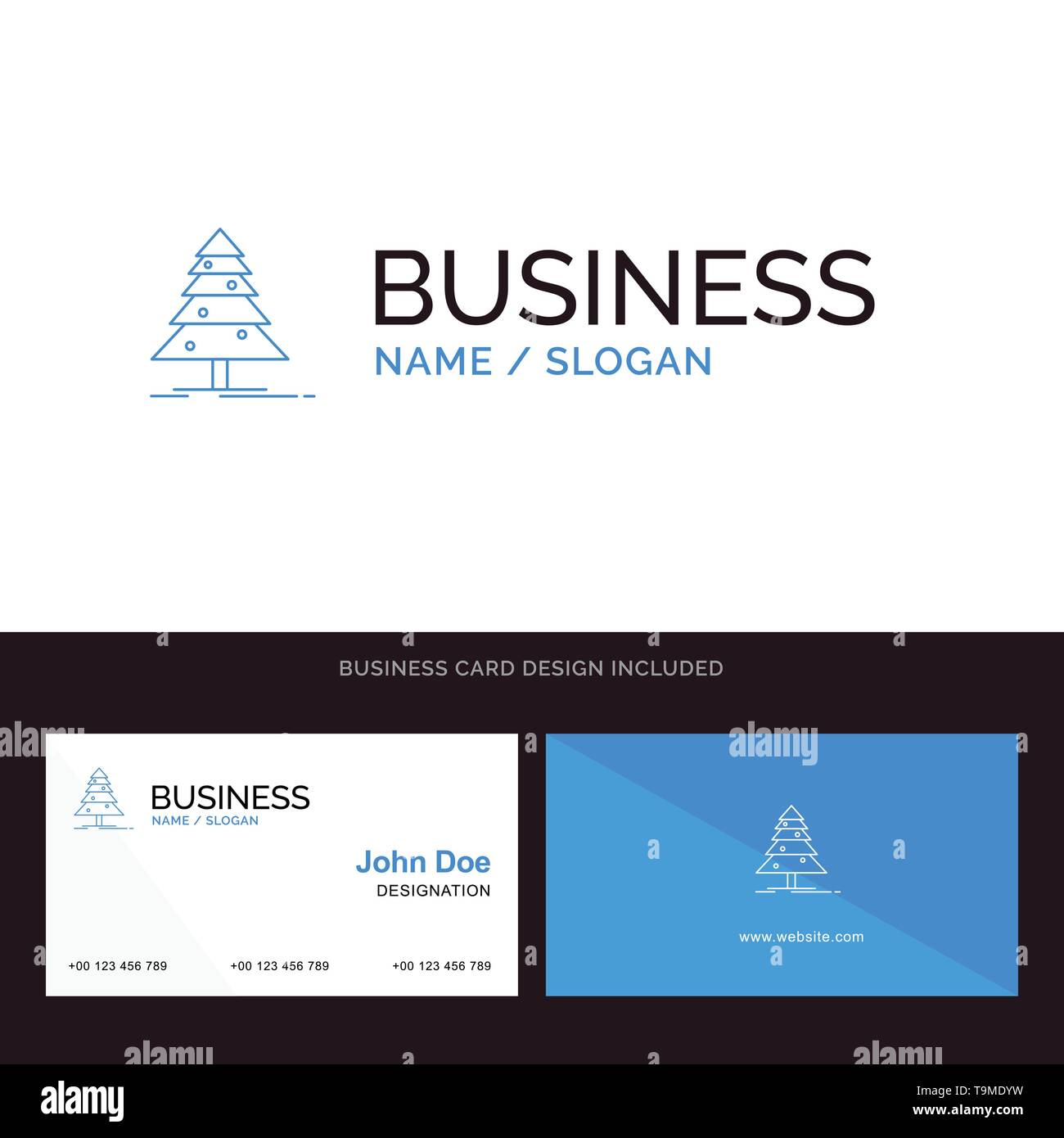 Tree, Forest, Christmas, XMas Blue Business logo and Business Card Template. Front and Back Design - Stock Image