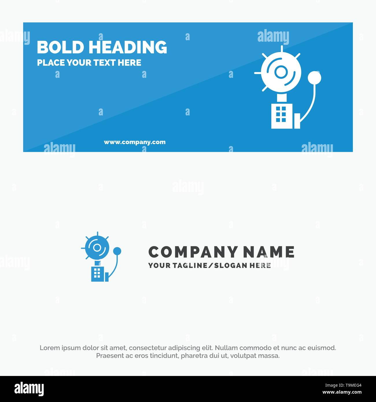 Alarm, Alert, Bell, Fire, Intruder SOlid Icon Website Banner and Business Logo Template - Stock Image