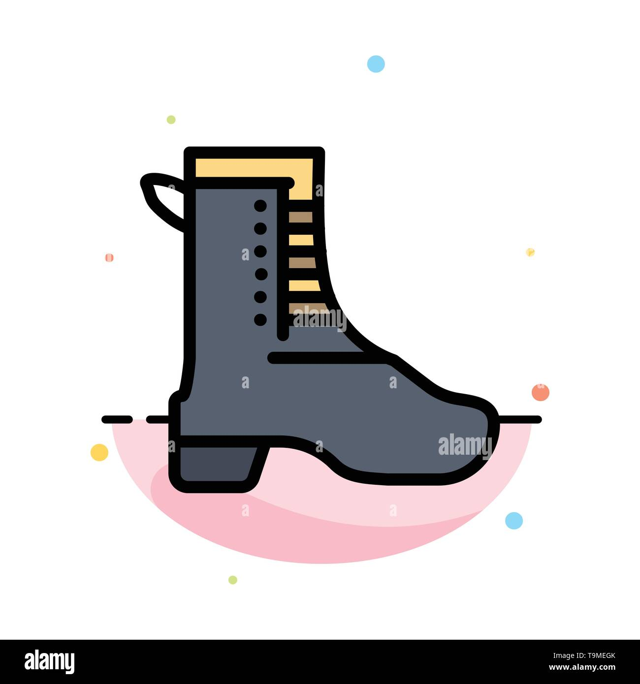 Activity, Running, Shoe, Spring Abstract Flat Color Icon Template - Stock Image