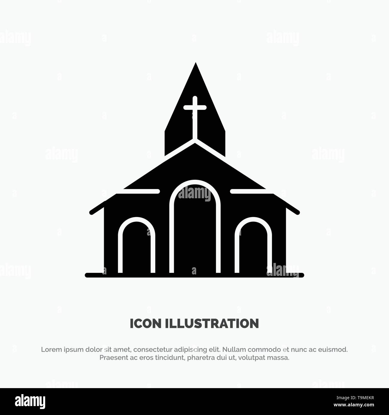 Building, Christmas, Church, Spring solid Glyph Icon vector - Stock Image