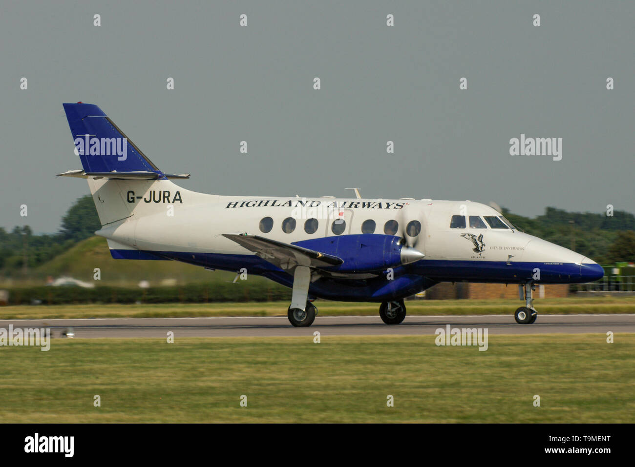 Highland Airways British Aerospace Jetstream 31 -3112 turboprop airliner plane G-JURA lining up for take off. Handley Page Jetstream. Space for copy - Stock Image