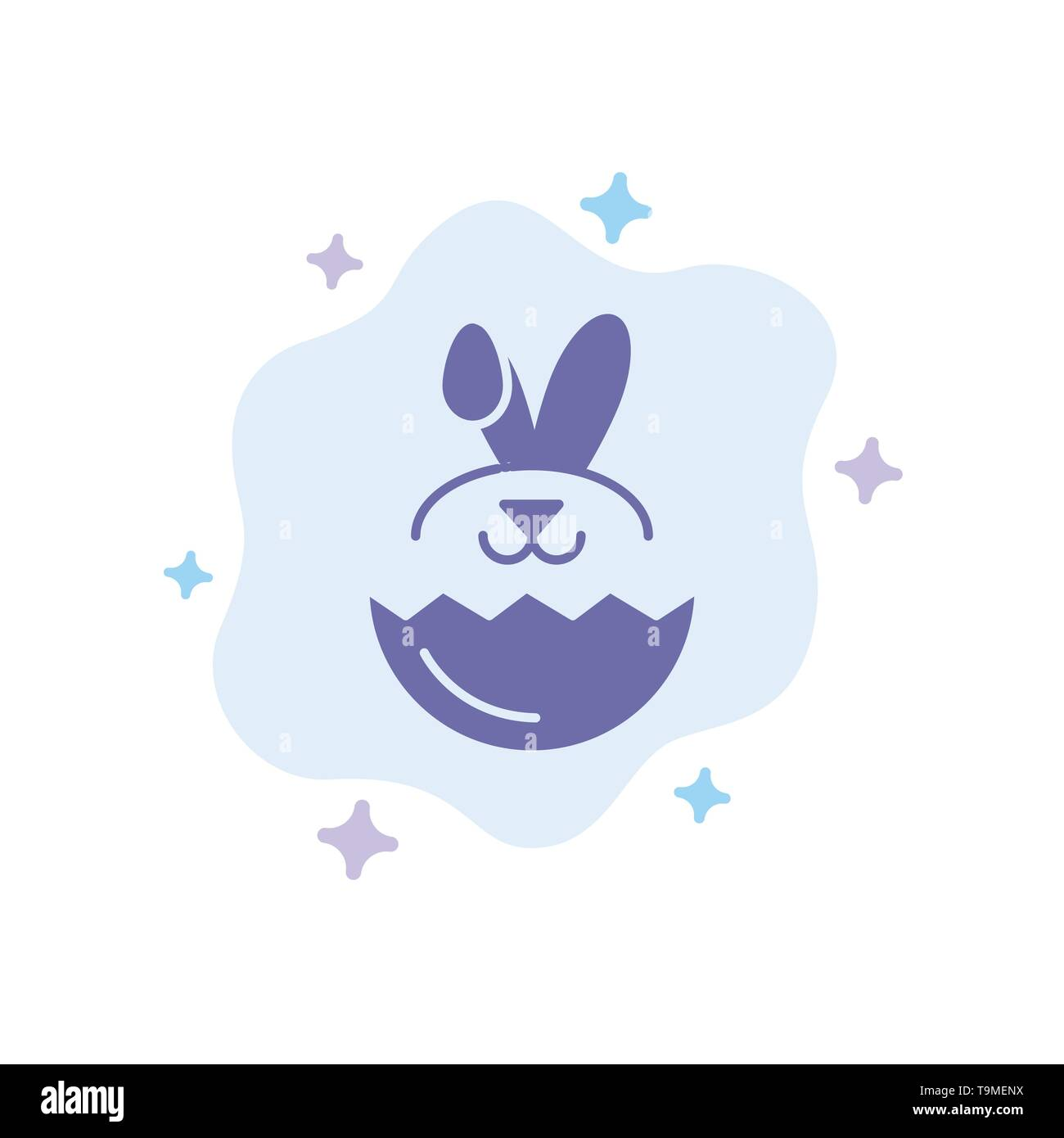 Egg, Rabbit, Easter Blue Icon on Abstract Cloud Background - Stock Image