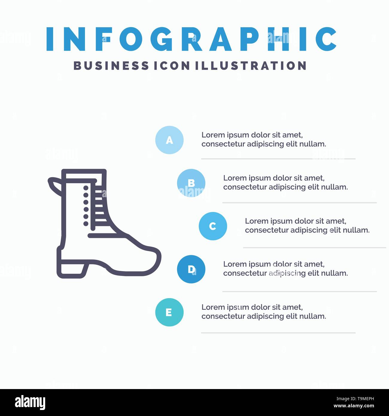 Activity, Running, Shoe, Spring Line icon with 5 steps presentation infographics Background - Stock Image