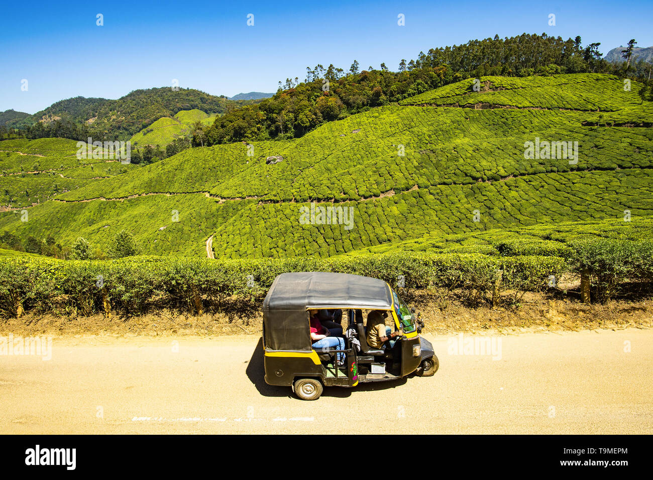 An auto rickshaw (Tuc Tuc or Tuk Tuk) with tourists on board is traveling on the Munnar hills. - Stock Image