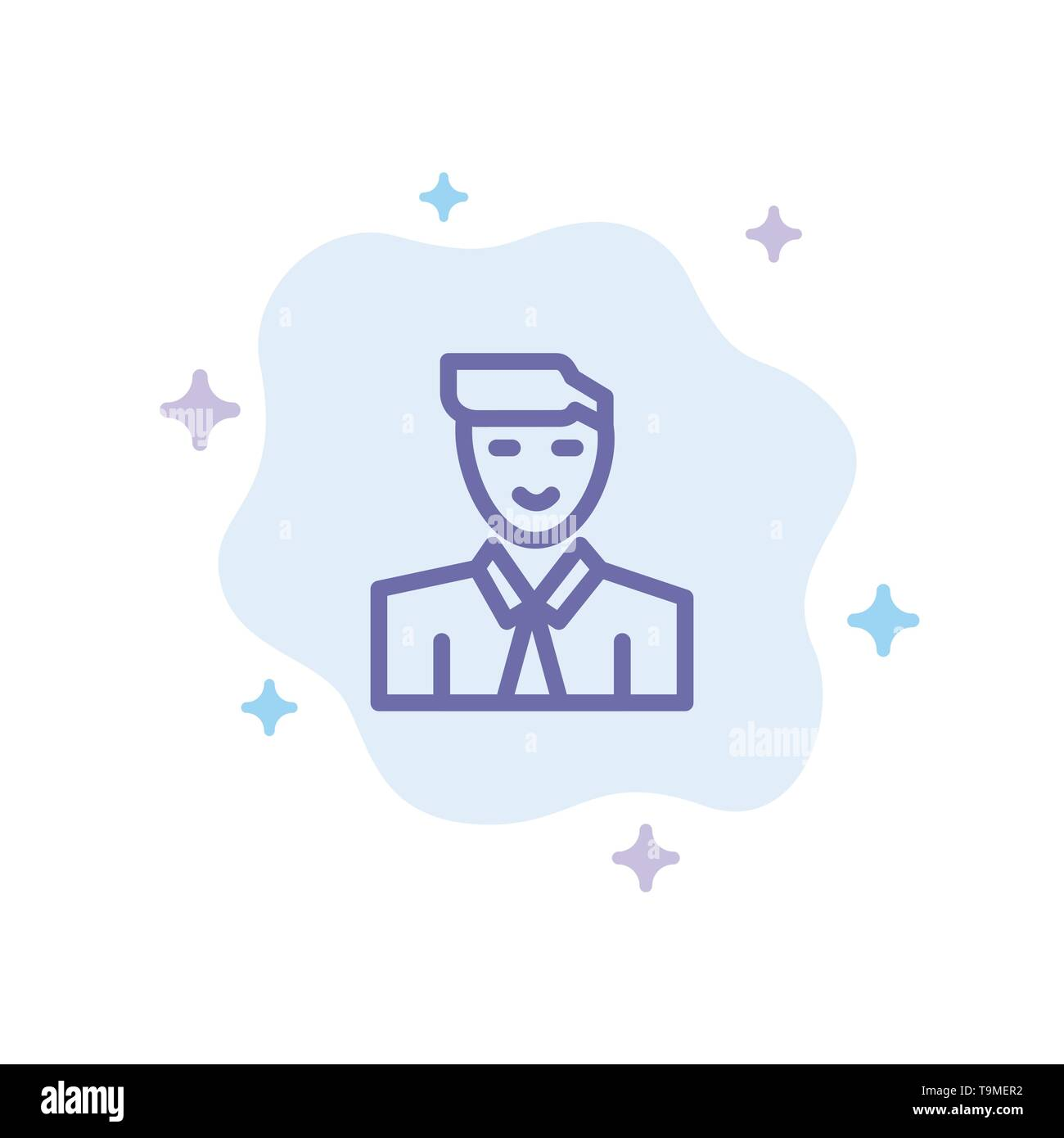 Man, User, Student, Teacher, Avatar Blue Icon on Abstract Cloud Background - Stock Image