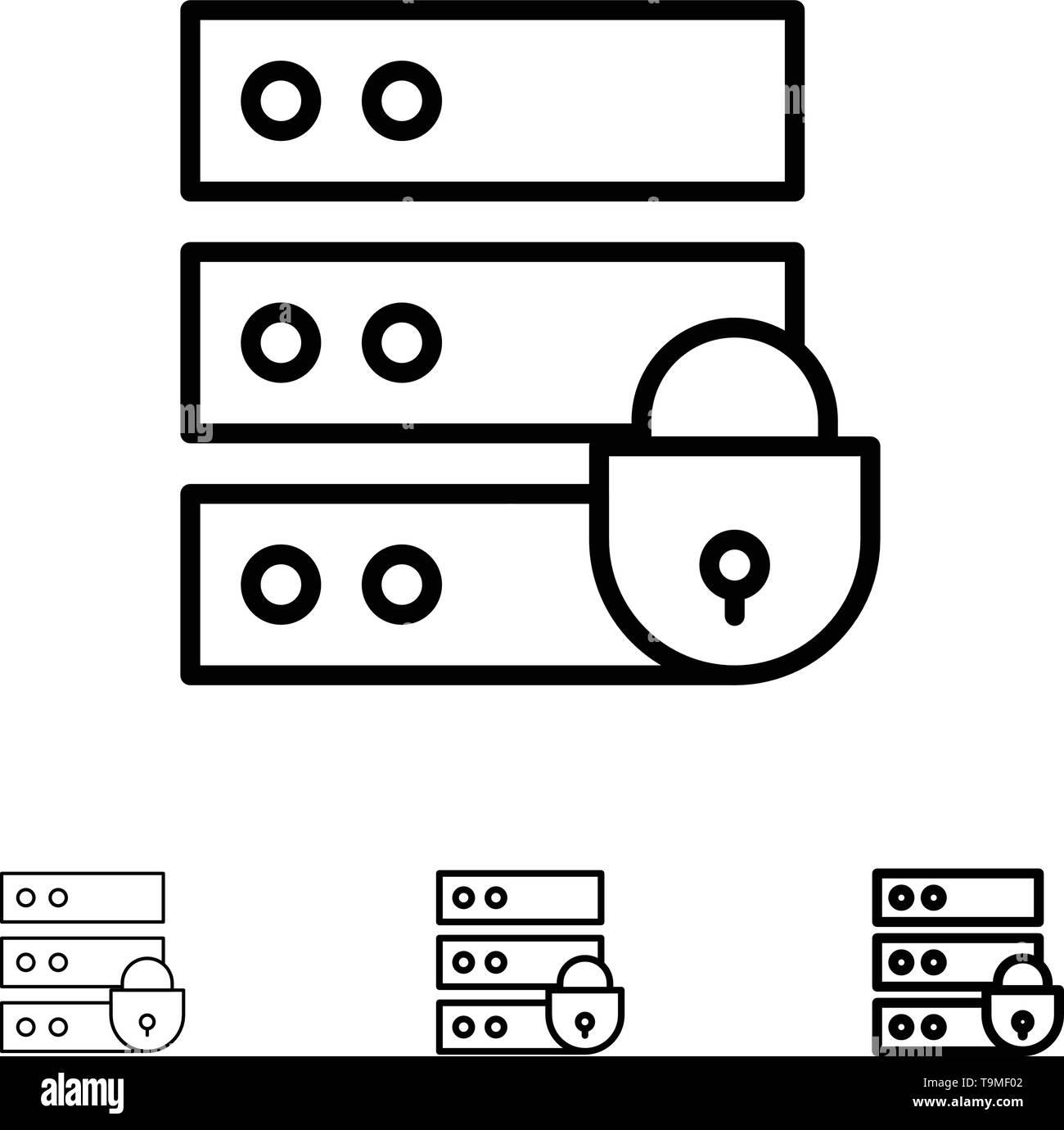 Device, Electronic, Internet Security, Key Bold and thin black line icon set - Stock Image