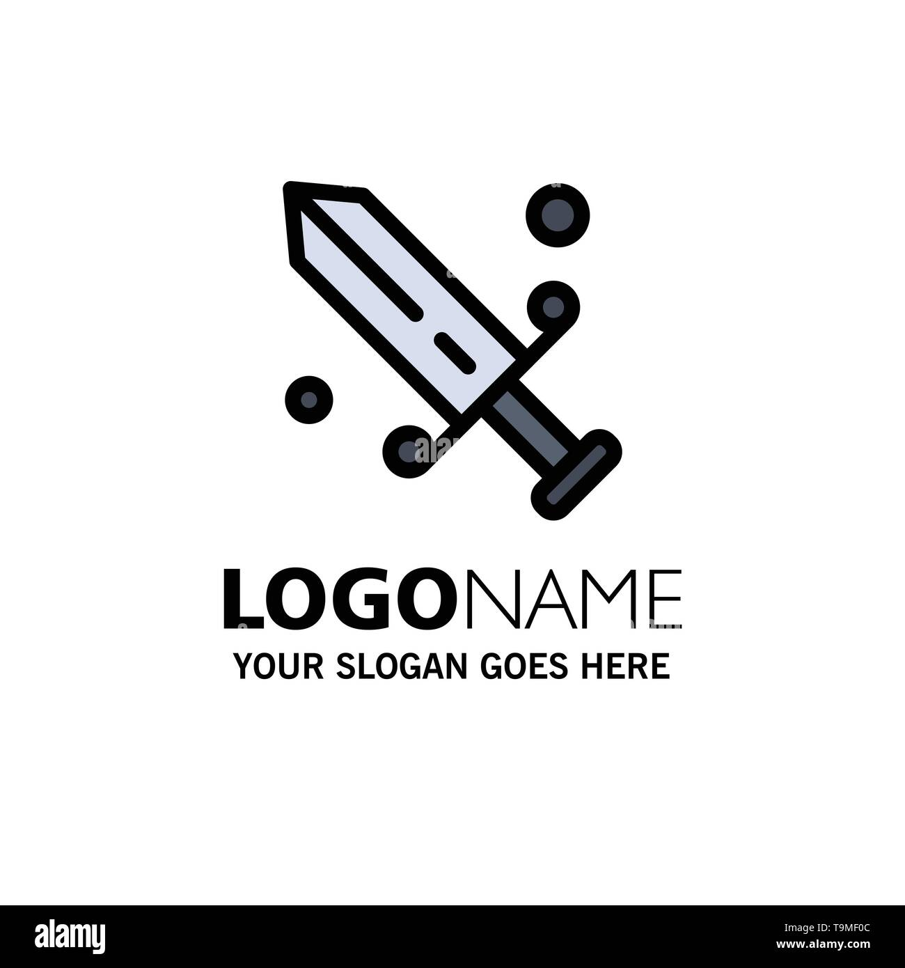 Competition, Fencing, Mask, Olympic Business Logo Template. Flat Color - Stock Vector