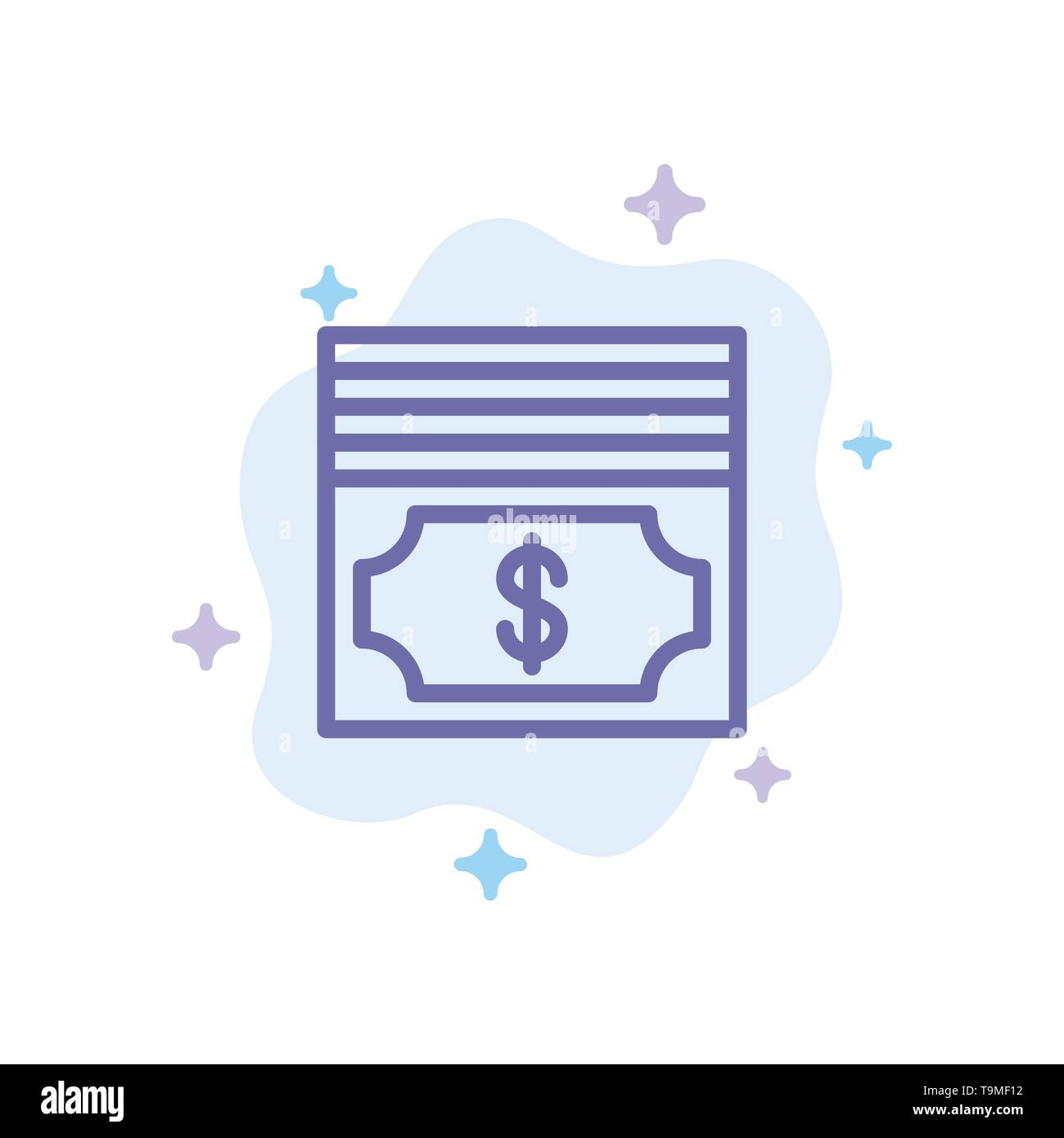 Cash, Dollar, Money Blue Icon on Abstract Cloud Background - Stock Image