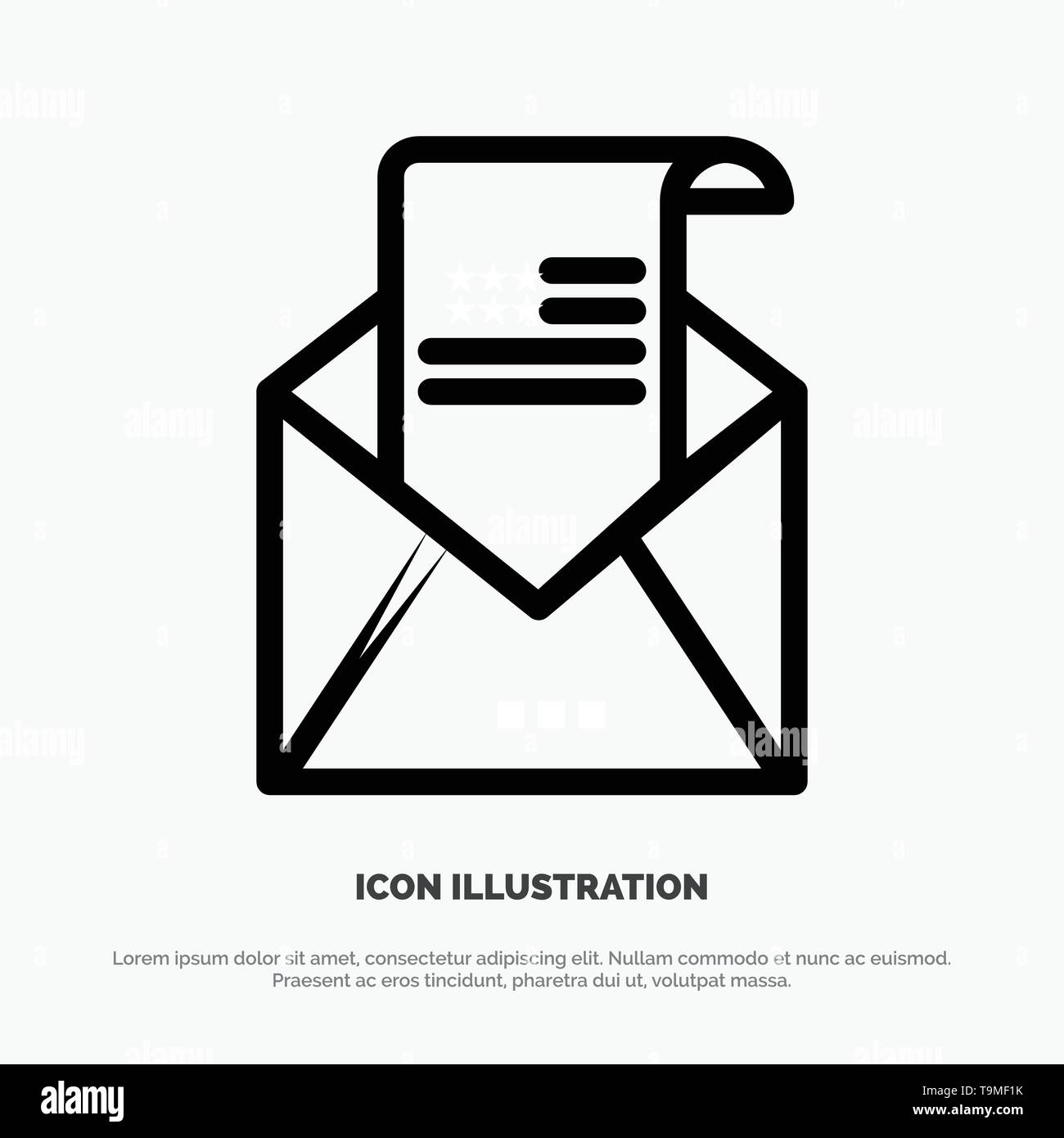 Email, Envelope, Greeting, Invitation, Mail Line Icon Vector - Stock Image