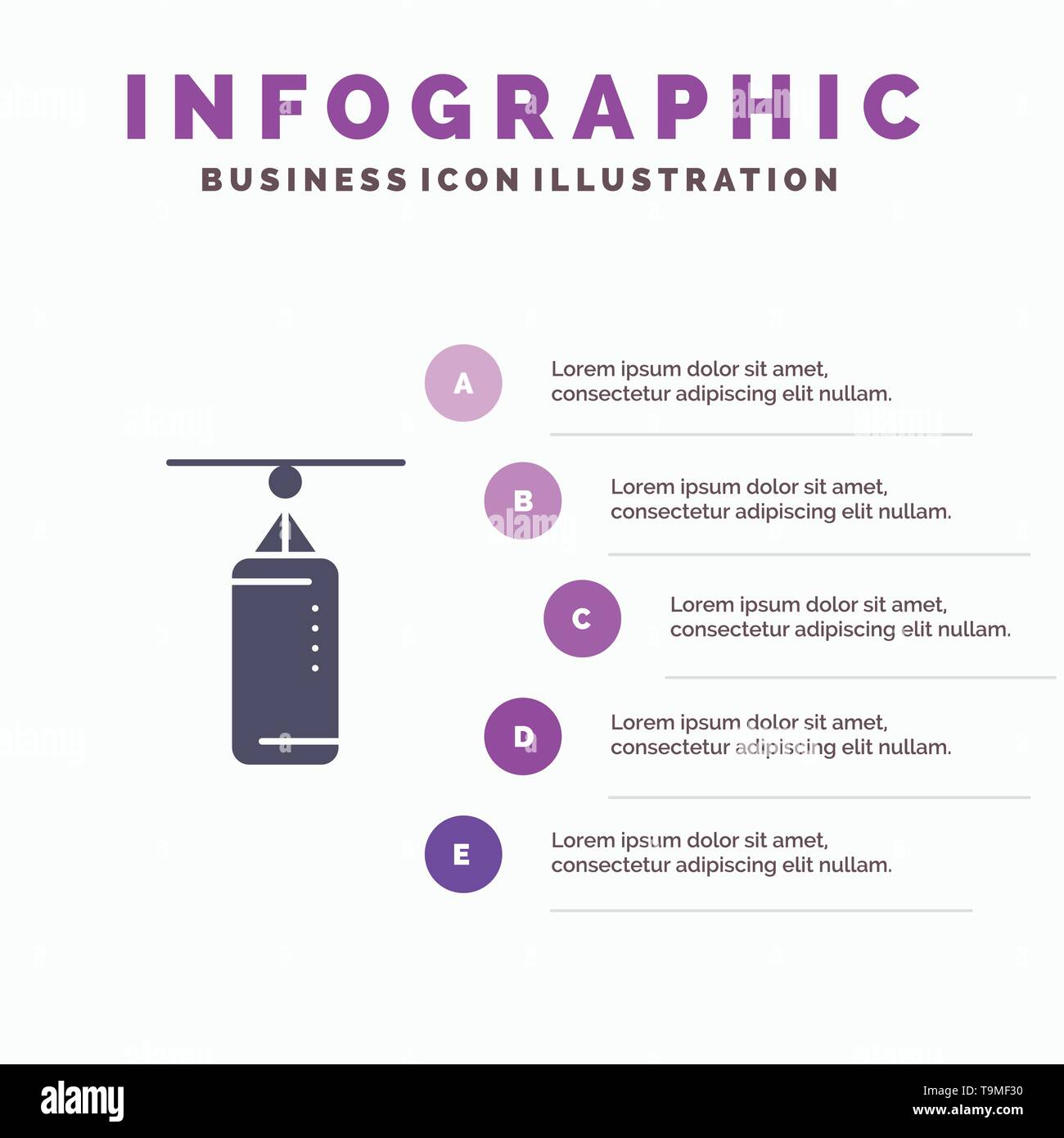 Bag, Boxing, Punch bag, Punching Solid Icon Infographics 5 Steps Presentation Background - Stock Image