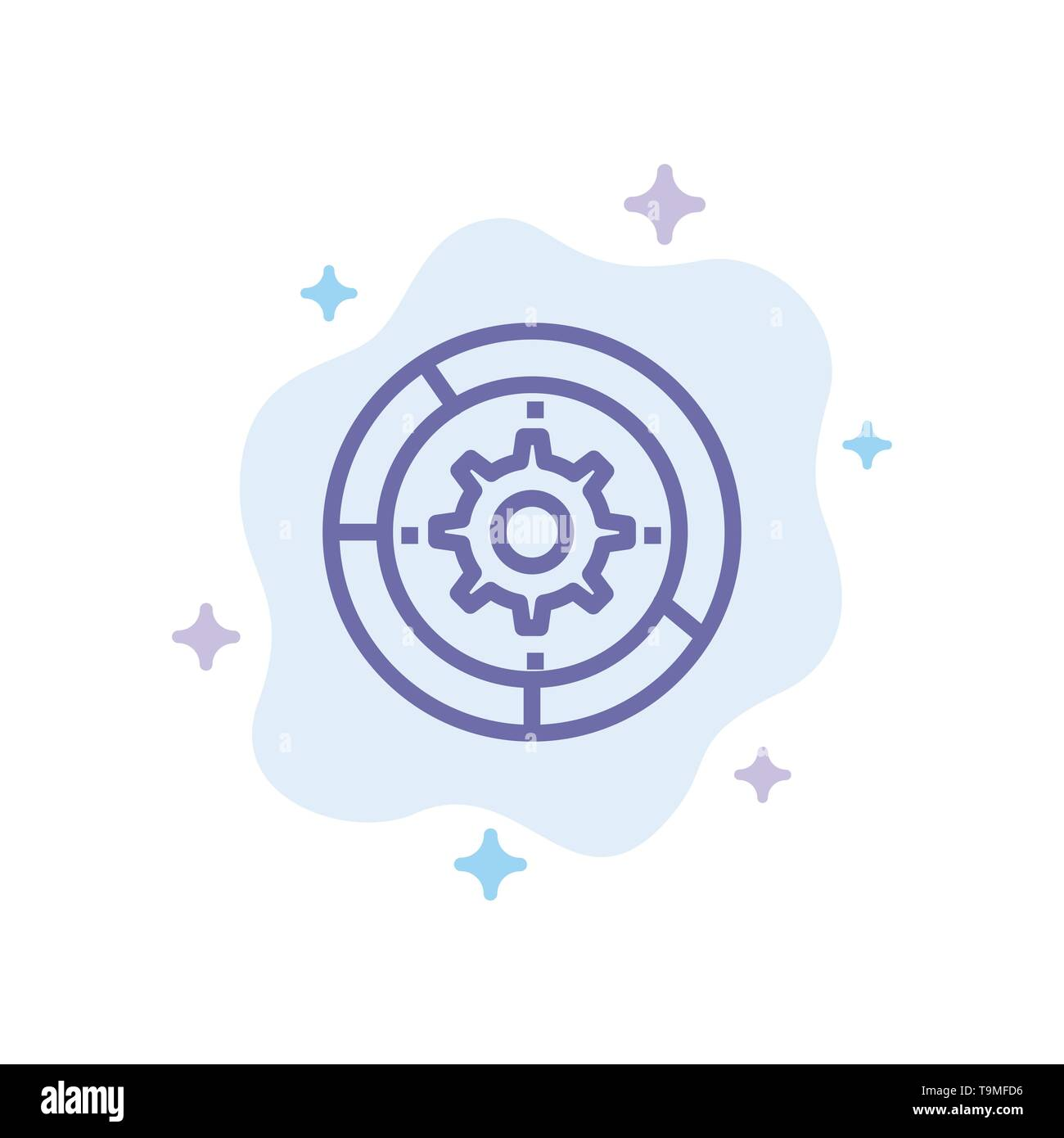 Gear, Settings, Setup, Engine, Process Blue Icon on Abstract Cloud Background - Stock Image