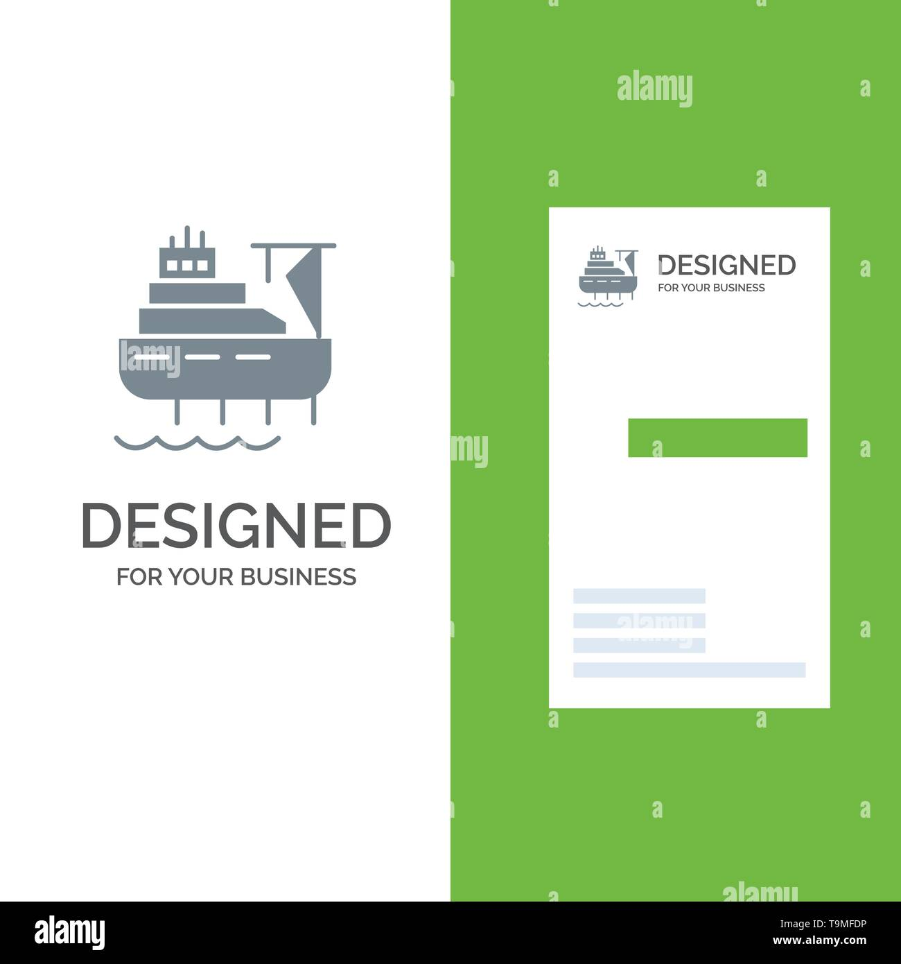 Ship, Boat, Cargo, Construction Grey Logo Design and Business Card Template - Stock Image