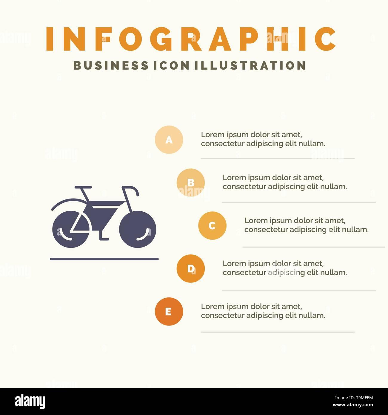 Bicycle, Movement, Walk, Sport Infographics Presentation Template. 5 Steps Presentation - Stock Image