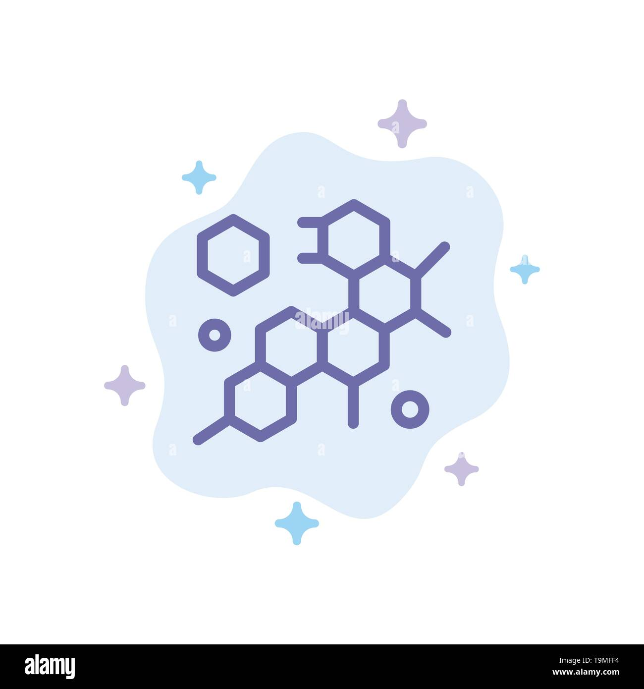 Cell, Molecule, Science Blue Icon on Abstract Cloud Background - Stock Image