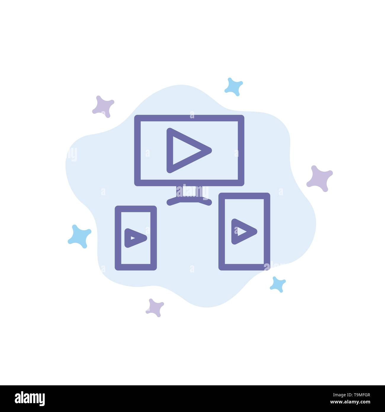 Computer, Video, Design Blue Icon on Abstract Cloud Background - Stock Image