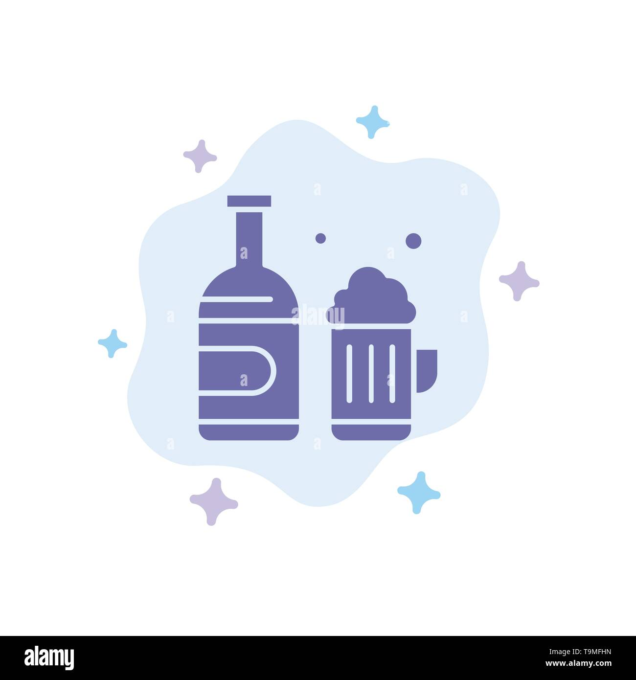Bottle, Beer, Cup, Canada Blue Icon on Abstract Cloud Background - Stock Image