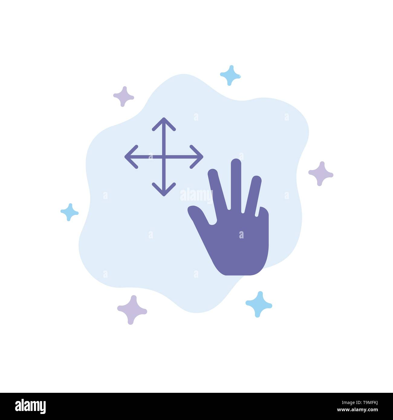 Three, Finger, Gestures, Hold Blue Icon on Abstract Cloud Background - Stock Image