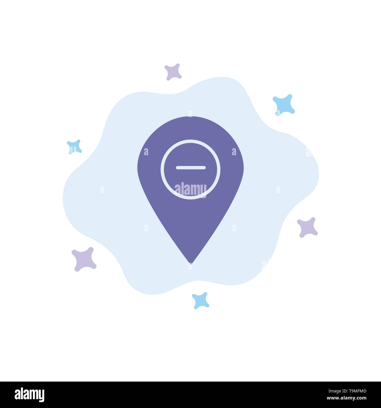 Location, Map, Marker, Pin Blue Icon on Abstract Cloud Background - Stock Image