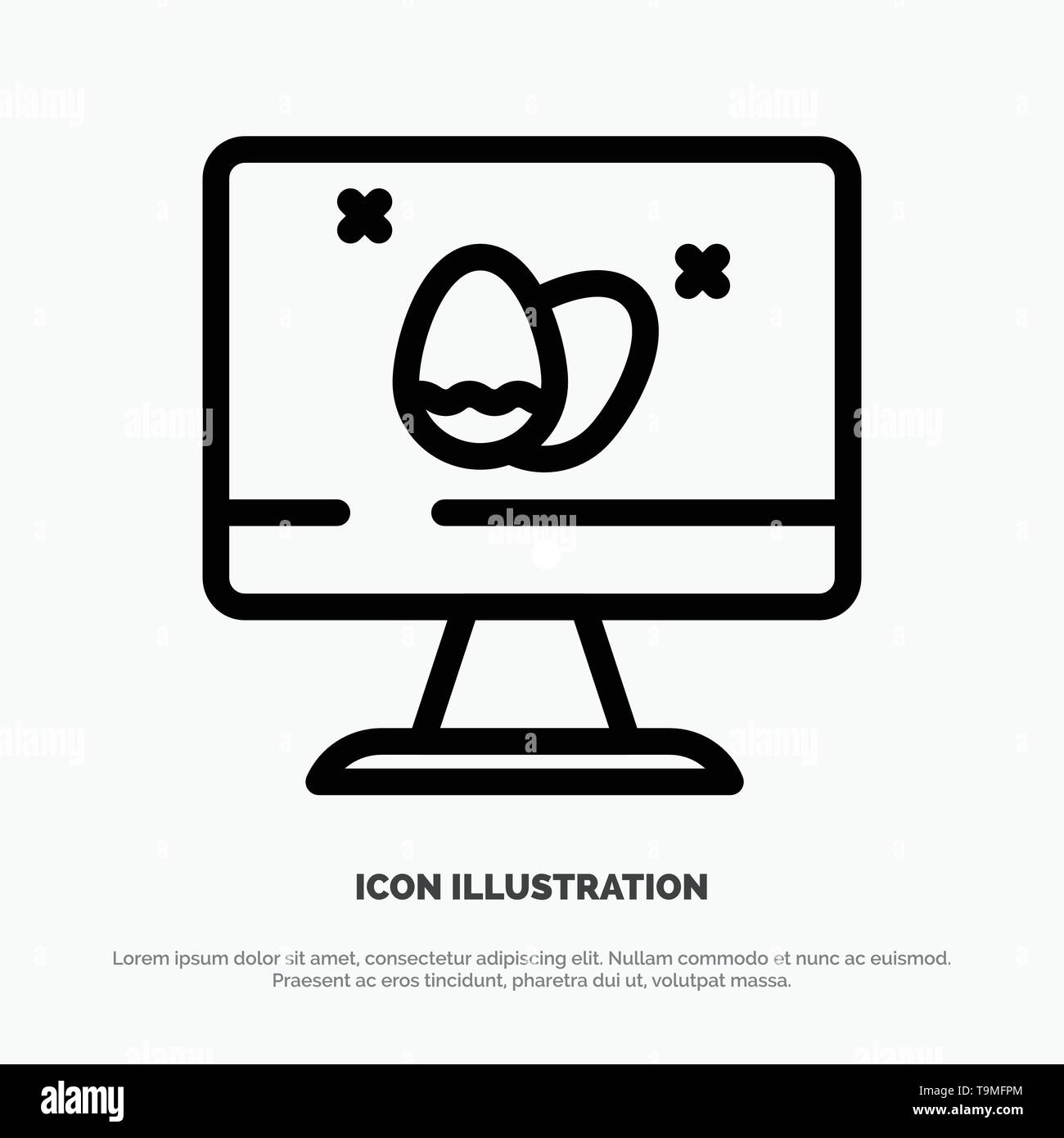Monitor, Screen, Egg, Easter Line Icon Vector - Stock Image