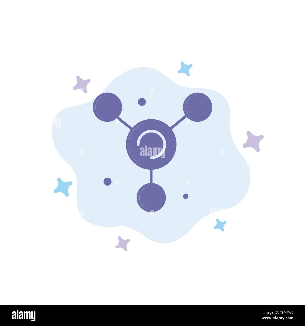 Atom, Molecule, Science Blue Icon on Abstract Cloud Background - Stock Image