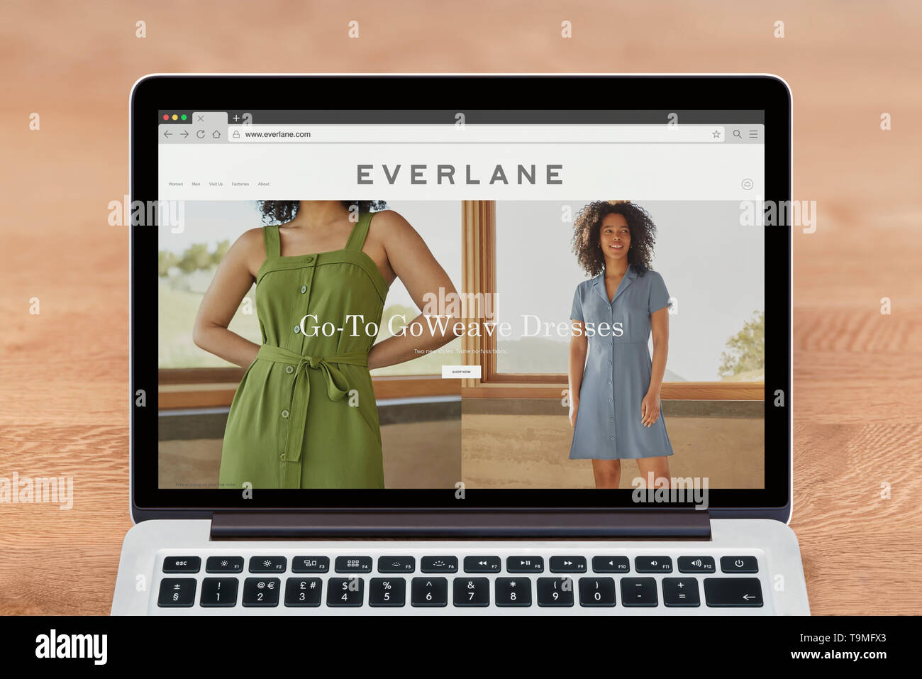 An Apple Macbook displays the Everlane website (Editorial use only). - Stock Image