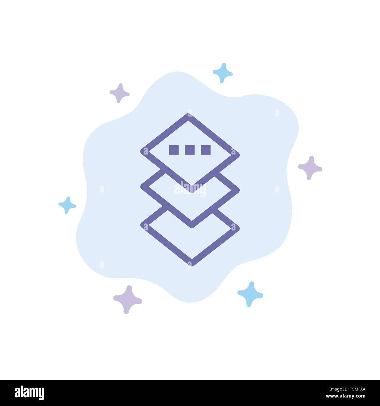 Design, Plane, Square Blue Icon on Abstract Cloud Background - Stock Image