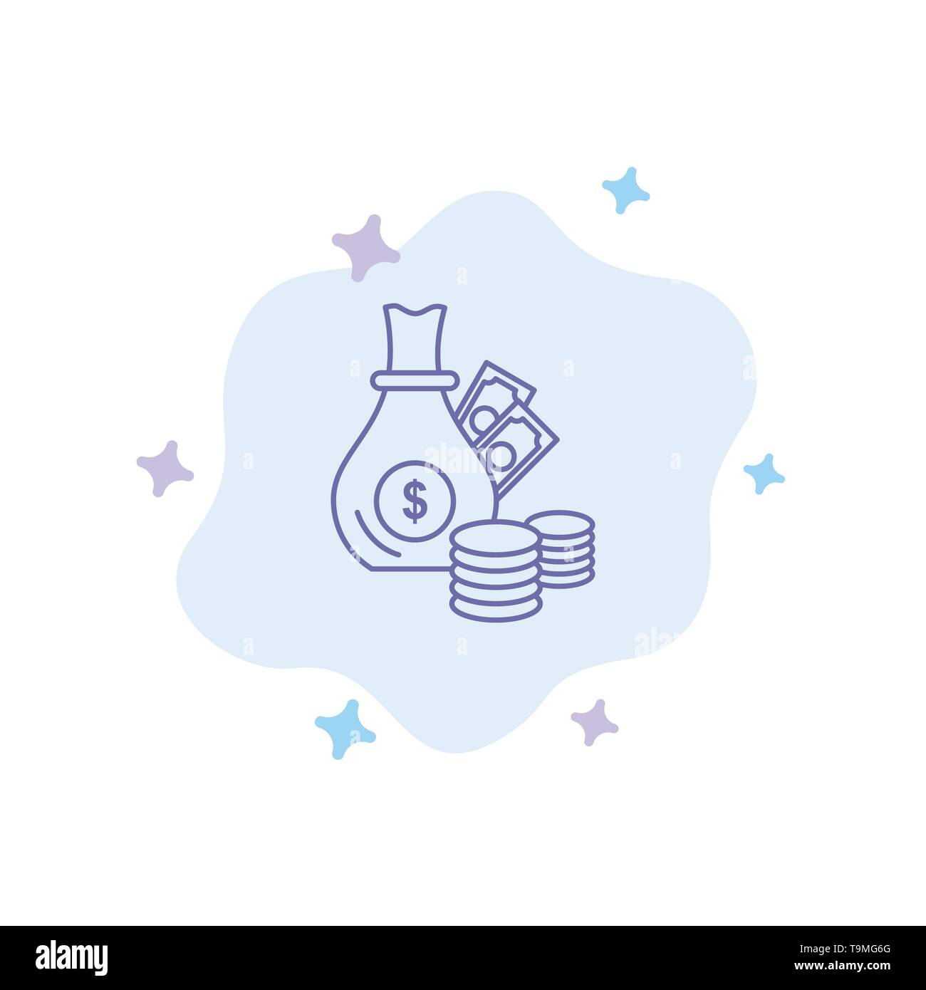 Money, Bank, Business, Coins, Gold Blue Icon on Abstract Cloud Background - Stock Image