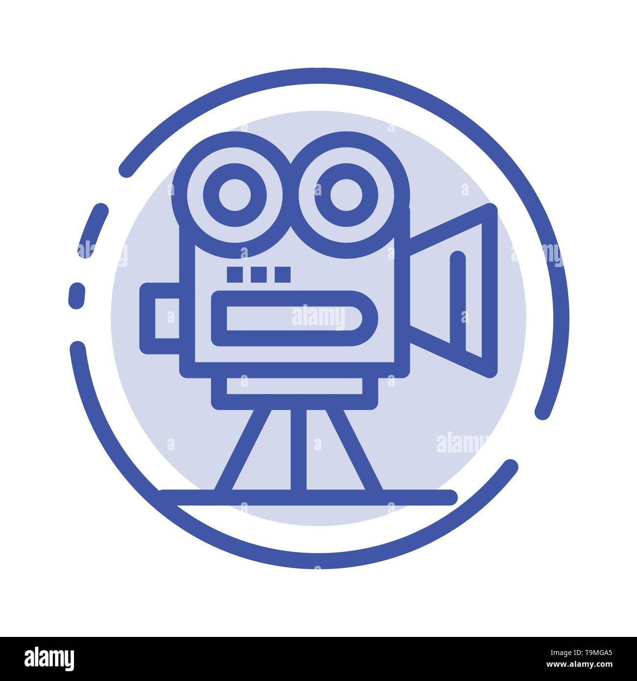 Camera, Capture, Film, Movie, Professional Blue Dotted Line Line Icon - Stock Vector