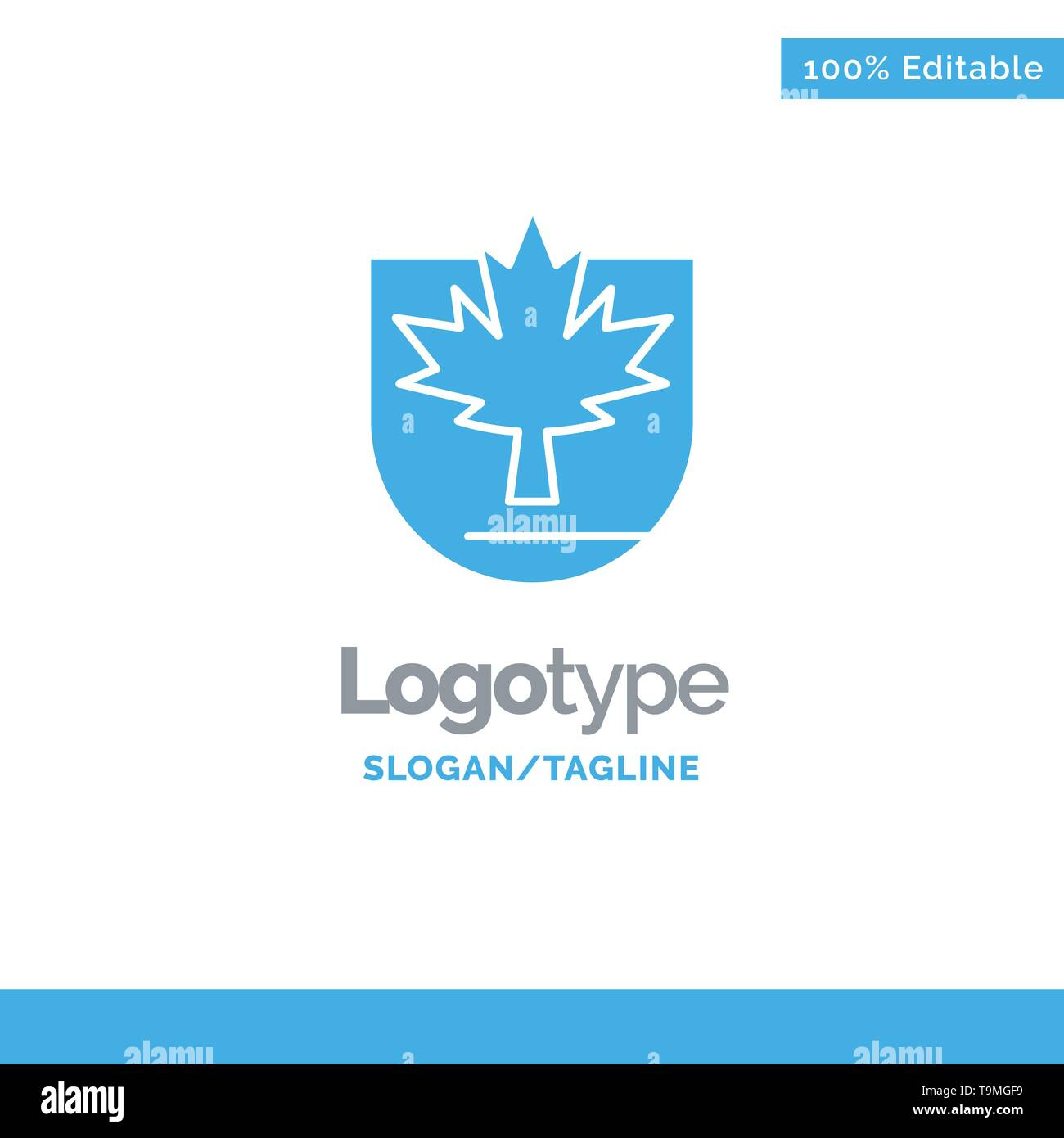 Security, Leaf, Canada, Shield Blue Solid Logo Template. Place for Tagline - Stock Image
