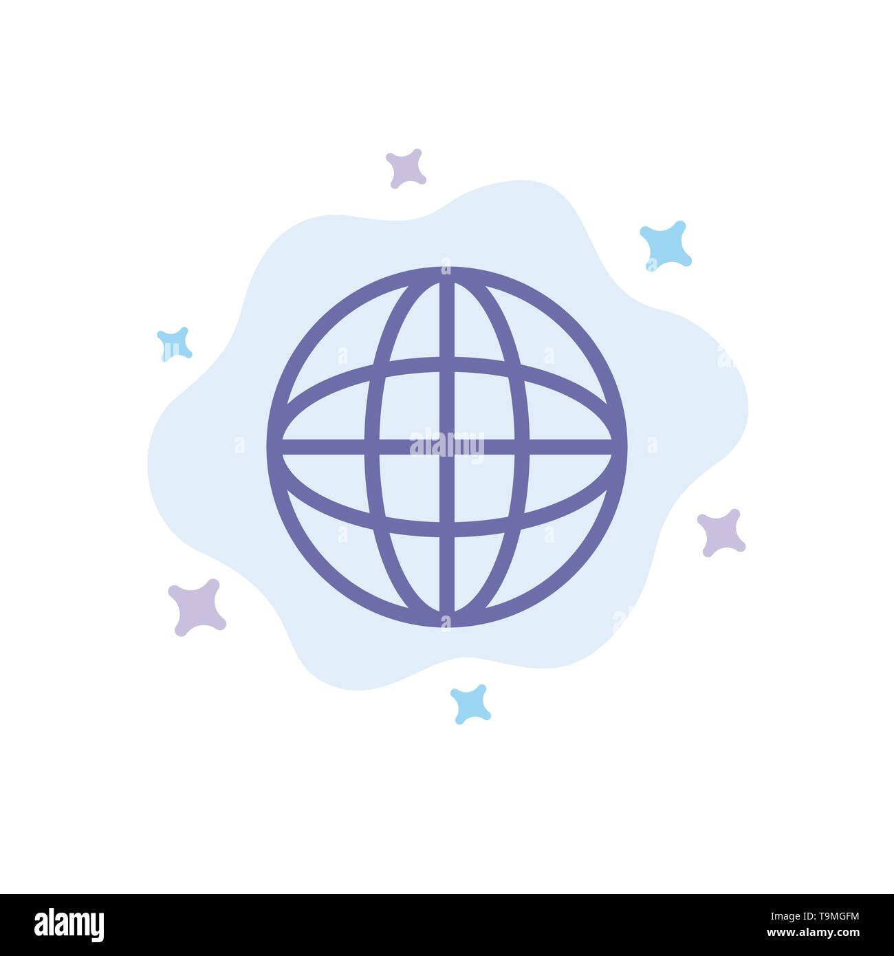 World, Globe, Internet, Education Blue Icon on Abstract Cloud Background - Stock Image
