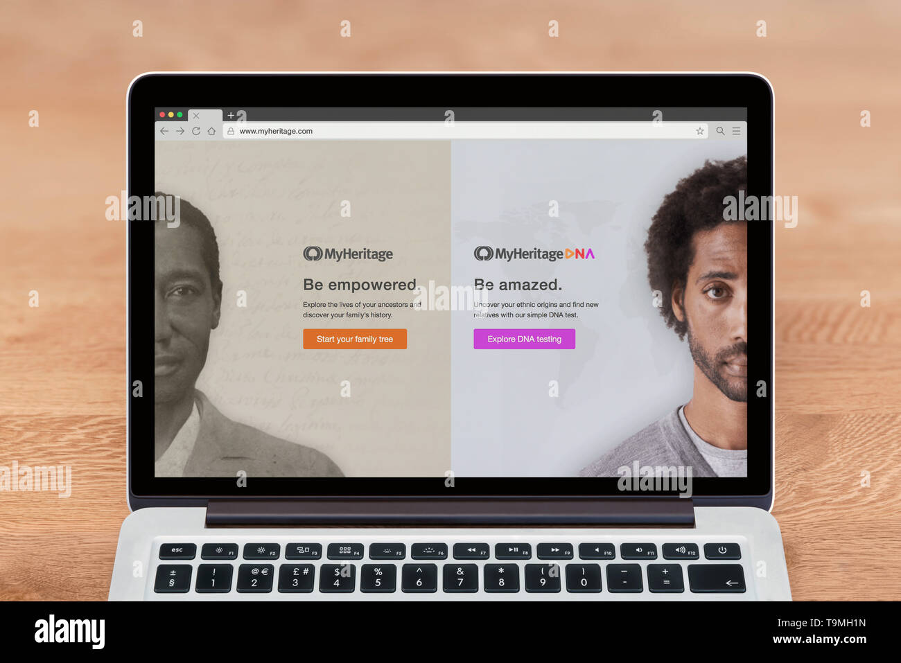 An Apple Macbook displays the MyHeritage website (Editorial use only). - Stock Image