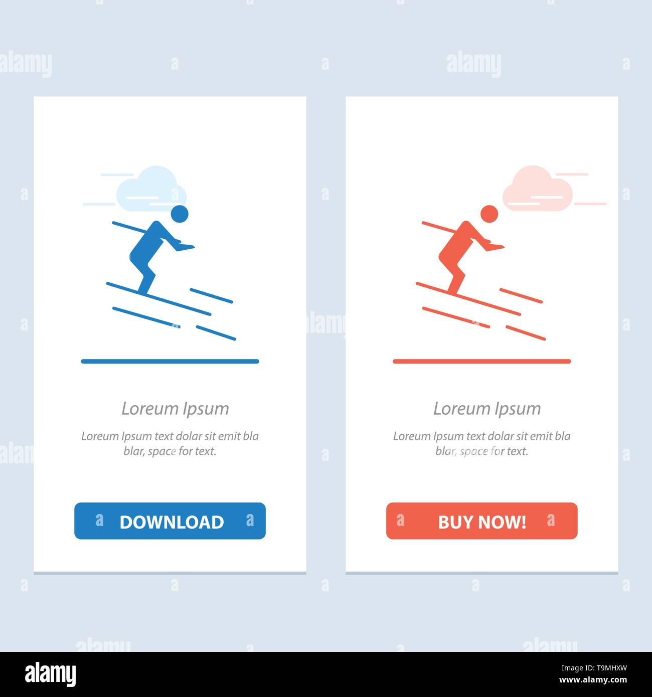 Activity, Ski, Skiing, Sportsman  Blue and Red Download and Buy Now web Widget Card Template - Stock Image